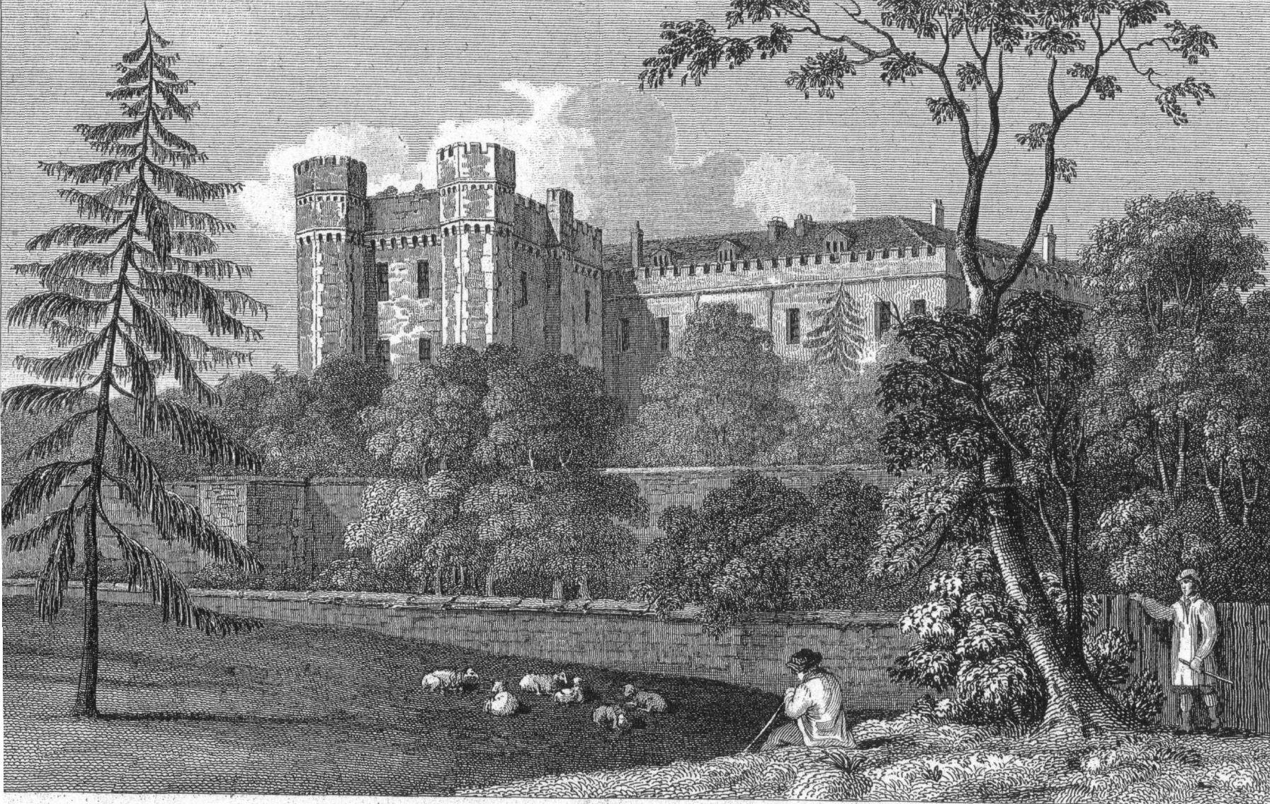 Farnham Castle south face terrace wall