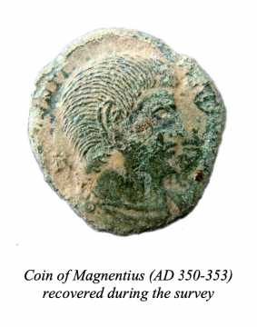 Coin of Magentius (AD350-353) recovered during the survey